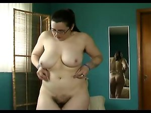 plump shaggy pussy, hirsute pits, large melons trys on lingerie
