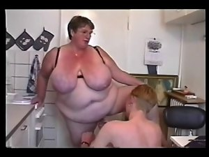 Cute bbw Crazy threesome action #6 (FAT Granny & Two 18yo Guys)