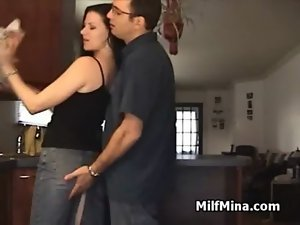 Filthy bitch Mina Blows in Kitchen