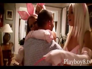 Three beautiful playmate bunnies suck off and muff banged