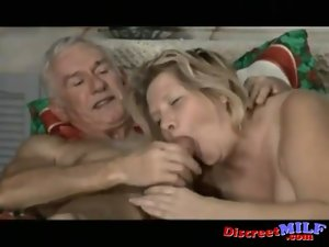 Elder couple have kinky sex at home