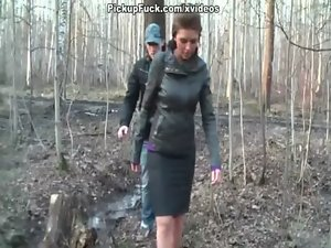 Titted dark haired fuck in the woods