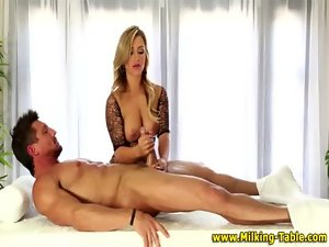Masseuse young woman rubs strong dick