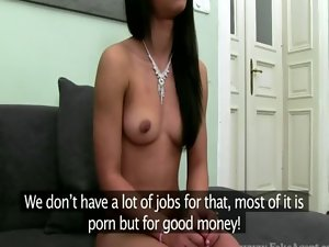 EUro slutty girl blows her agent during casting with her agent