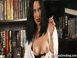 Amazing big titted dark haired bitch getting naked