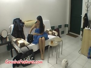 Natural backstage with amazing czech dark haired