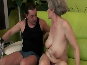 Hirsute granny pussylicked and banged wild
