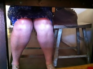 MM60 Mum legs under table voyeur