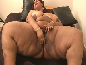 Filthy ebony obese with mega big melons