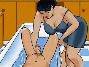 Attractive mature mum handjob shaft her boy! Animation!