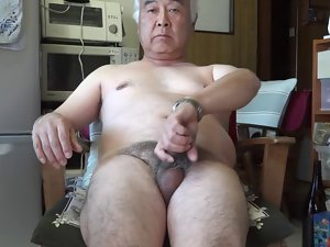 Seductive japanese aged man masturbation Ejaculation in the kitchen