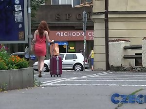 Czech Lewd redhead bangs chap rough in car park for cash