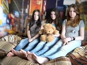 3 slutty chicks foot tickling