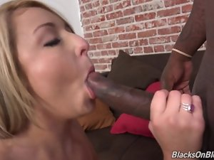 Round Blond Accepts Ebony Pecker