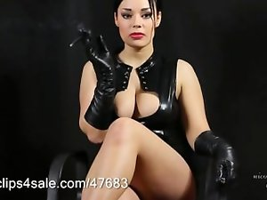 Smoking in Ebony Leather - Gloves & Corset