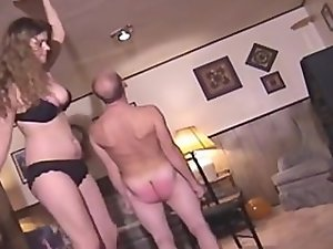 Spanked by tall wench