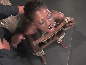 Monique tied to a chair and gets naughty ass banged with fake penis