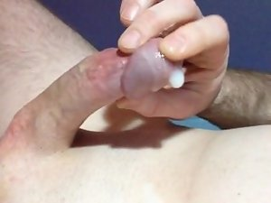 Precum play and rubbing my sperm over my tip.