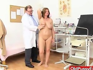 Attractive mature gyno in addition to dildoes and bang toys