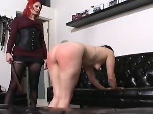 Dr. Soma's spanking, caning and humiliating a call lass