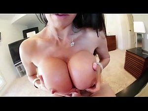 Lewd titty banging dark haired cunt