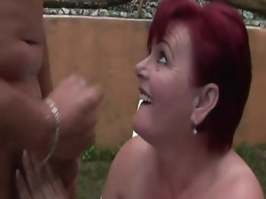Alluring GILF amateur caresses phallus and drilled