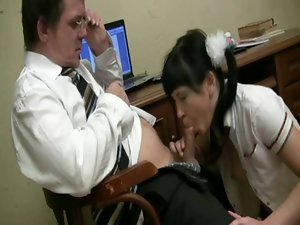Older tutor acquires cum hungry act