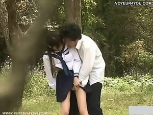 Seductive teen School Girlie Outdoor Garden Fuck