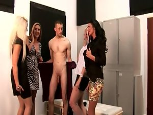 CFNM group of femdoms licking in front of voyeurs