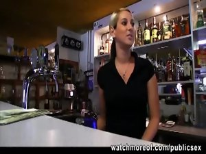 Filthy buxom bar gal persuaded for a quick fuck for cash