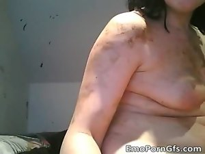Plump emo lesbos have fun nude