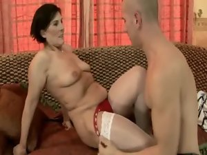 Amateur experienced granmother giving head