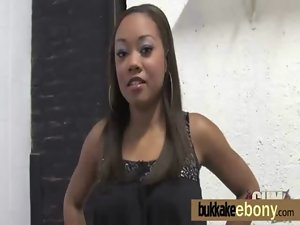 Ebony young woman strokes several pricks ending with a awesome facial bukkake 13