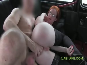 Huge breasts redhead banged in taxi