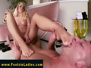 Footjob fetish slutty girl shags and tugs