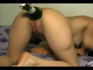 Wildassholeslut banging a beer bottle