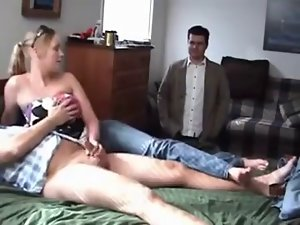 CUCK Watches his slutty wife jerking puny dicked stranger
