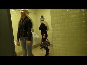two sensual blondes attack a dick in bathroon