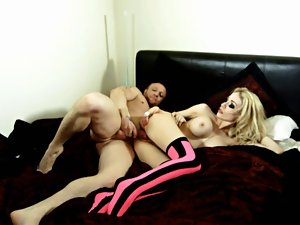 English vixen gets grinded in pinkish and ebony hold-ups