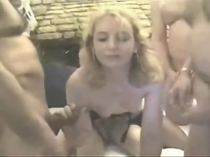 Facecams of a Blond English Amateur Gangbang
