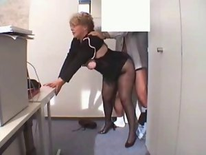 Office Granny Banged in stockings