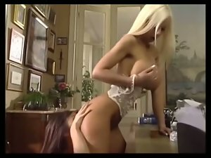 Tempting blonde and Asian Nurse in Crazy threesome action
