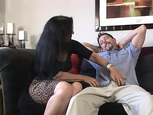 Experienced dark haired nympho is ready to get her narrow pussy thumped by a stud