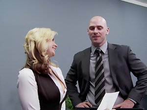 A blondie gets her hooters and quim fondled in the office by her boos