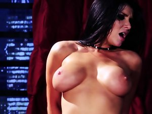 A extremely huge shaft is getting placed deep inside a large breasted dark haired
