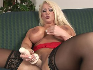 Huge fake penises are no challenge for Alura Jenson