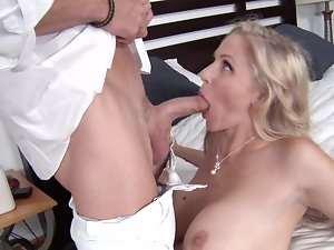 Blameless blond is getting banged on the white bed sheets