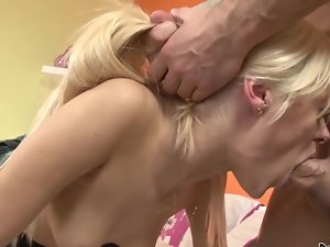 A blondie that has a shaven pussy is getting a shaft in her slit