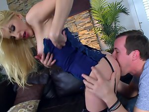 A blondie that has a sexual round bum is getting a prick in her lewd butt