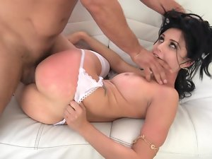 A black haired wench is getting man juices on her filthy face